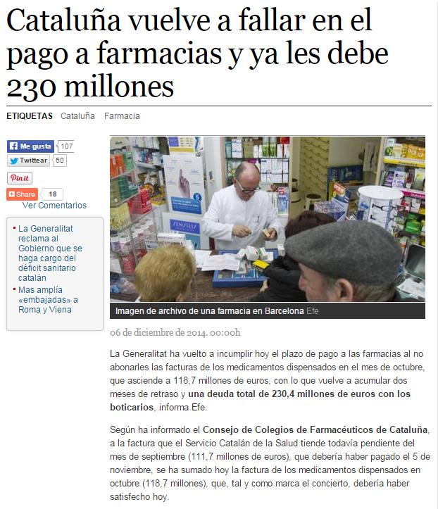 Cataluña vuelve a fallar en el pago a farmacias y ya les debe 230 millones   La Razón digital