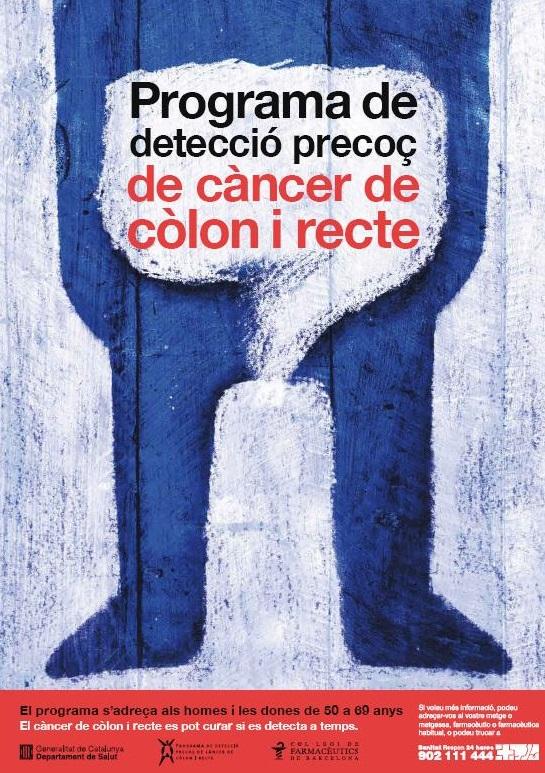Cartell del programa de detecció de càncer de còlon a les farmàcies