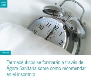 Farmaventas   Los farmacéuticos se formarán a través de Ágora Sanitaria sobre cómo recomendar en el insomnio para mejorar la vida de los pacientes