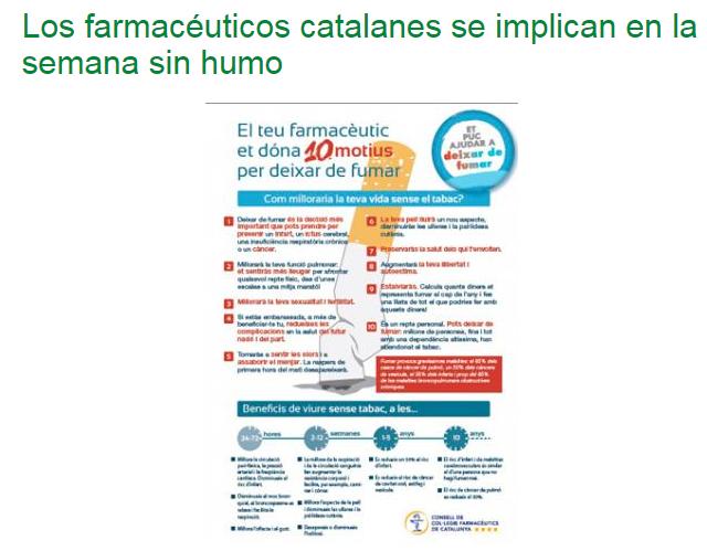 Los farmacéuticos catalanes se implican en la semana sin humo