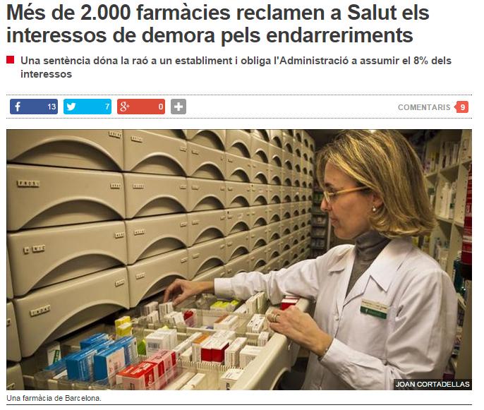 Més de 2.000 farmàcies demanen a Salut els interessos per impagaments