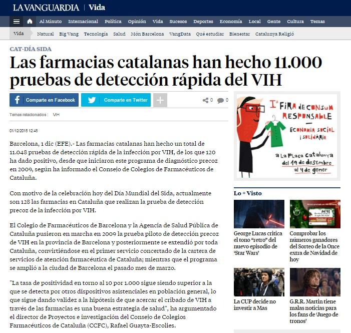 VIH LA VANGUARDIA Las farmacias catalanas han hecho 11.000 pruebas de detección rápida del VIH
