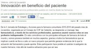 Tribuna del president del Col·legi, Jordi de Dalmases, al Correo Farmacéutico
