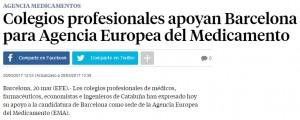 Notícia de La Vanguardia explicant el recolzament de diferents col·legis professionals perquè Barcelona sigui la seu de l'EMA