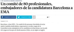 La Vanguardia informant del nou comite de suport per la candidatura de Barcelona com a seu de lEMA
