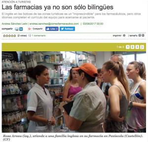 Correo Farmacéutico i l'atendió del turisme a les farmàcies