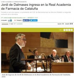 L'ingrés de Jordi de Dalmases a Correo Farmacéutico