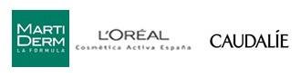 Logotips dels patrocinadors de la Jornada: Marti Derm, L'Oréal i Caudalie.