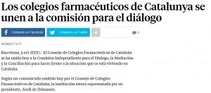 Adhesió a la comissió per al diàleg del Consell a La Vanguardia