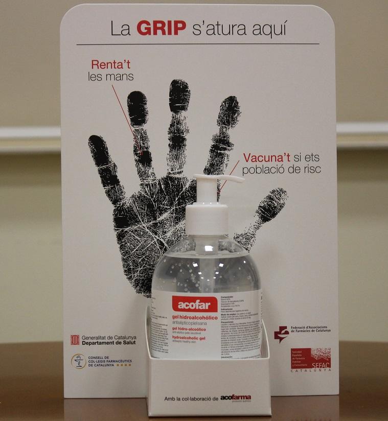 Dispensador de solució antisèptica que s'ha distribuït a les farmàcies.