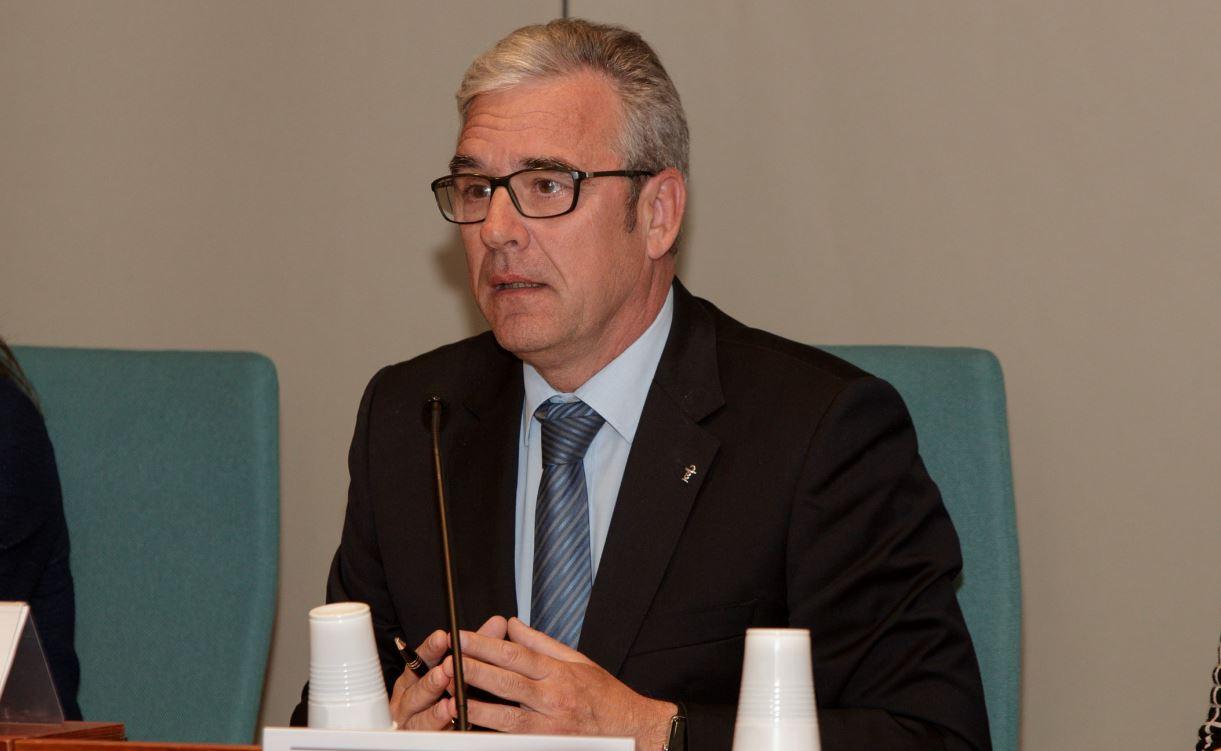 El president del Col·legi de Farmacèutics de Barcelona, Jordi De Dalmases, en un acte recent al COFB.