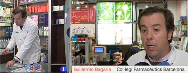 Guillermo Bagaria, vicetresorer del COFB, fent declaracions a dues televisions, TVE i Betevé