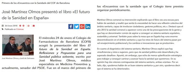 Notícia d'El Farmacéutico sobre la trobada