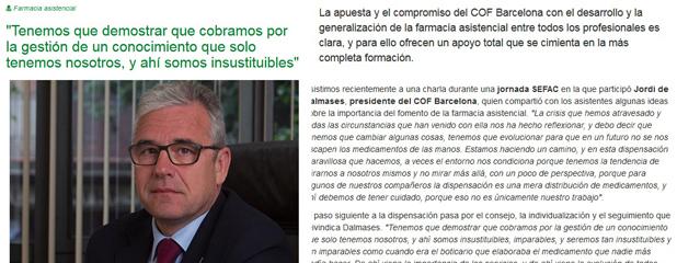 Jordi de Dalmases, president del Col·legi, a imFarmacias parlant sobre farmàcia assistencial