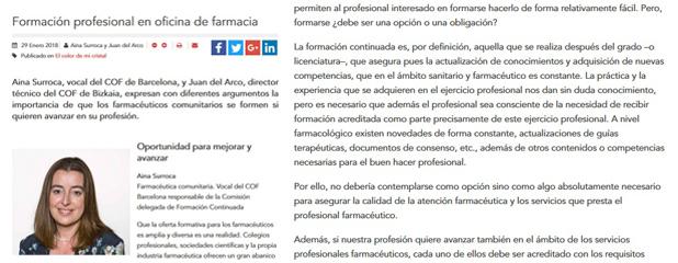 Tribuna d'Aina Surroca, vocal del COFB, a El Farmacéutico sobre formació professional