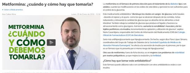 Cuídate Plus va compartir declaracions de Núria Casamitjana, responsable del Centre d'Informació del Medicament (CIM) del Col·legi, per parlar sobre el Metformina