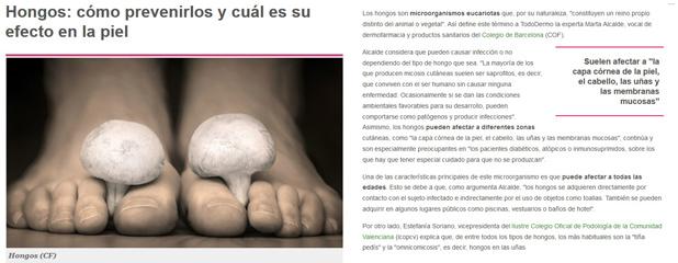 Notícia de la secció Tododermo amb declaracions de Marta Alcalde, vocal de Dermofarmàcia i Productes Sanitaris del Col·legi