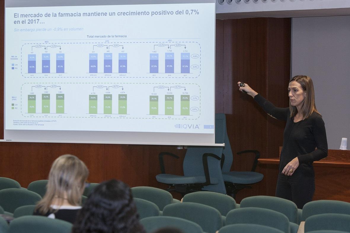 La directora general d'IQVIA Espanya, Concha Almarza, durant el Fòrum Dermoexpert.
