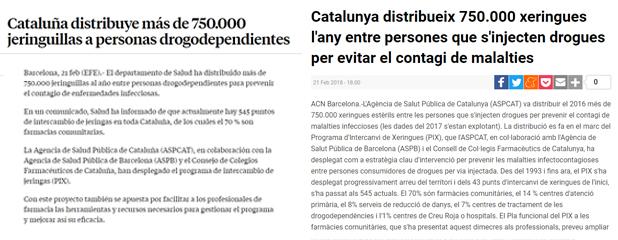 La Vanguardia i 3/24 informant sobre el Pla funcional del Programa d'Intercanvi de Xeringues (PIX)