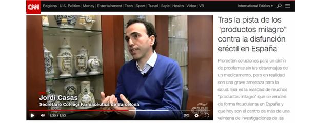 Jordi Casas, secretari del Col·legi, a CNN parlant sobre medicaments il·legals