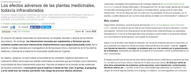 Correo Farmacéutico i efectes adversos de les plantes medicinals a Correo Farmacéutico, amb declaracions de Josep Allué, vocal d'Homeopatia i Plantes Medicinals del COFB