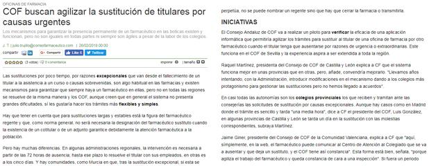 Inspecció de l'absència del titular, tema tractat per Correo Farmacéutico el febrer