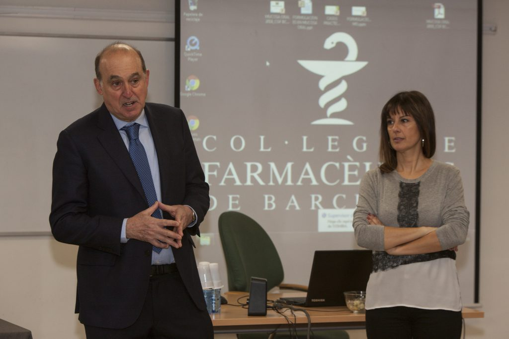 """Els professors del curs """"Fórmules magistrals per la mucosa oral"""",Francesc Llambí i Anna Codina."""