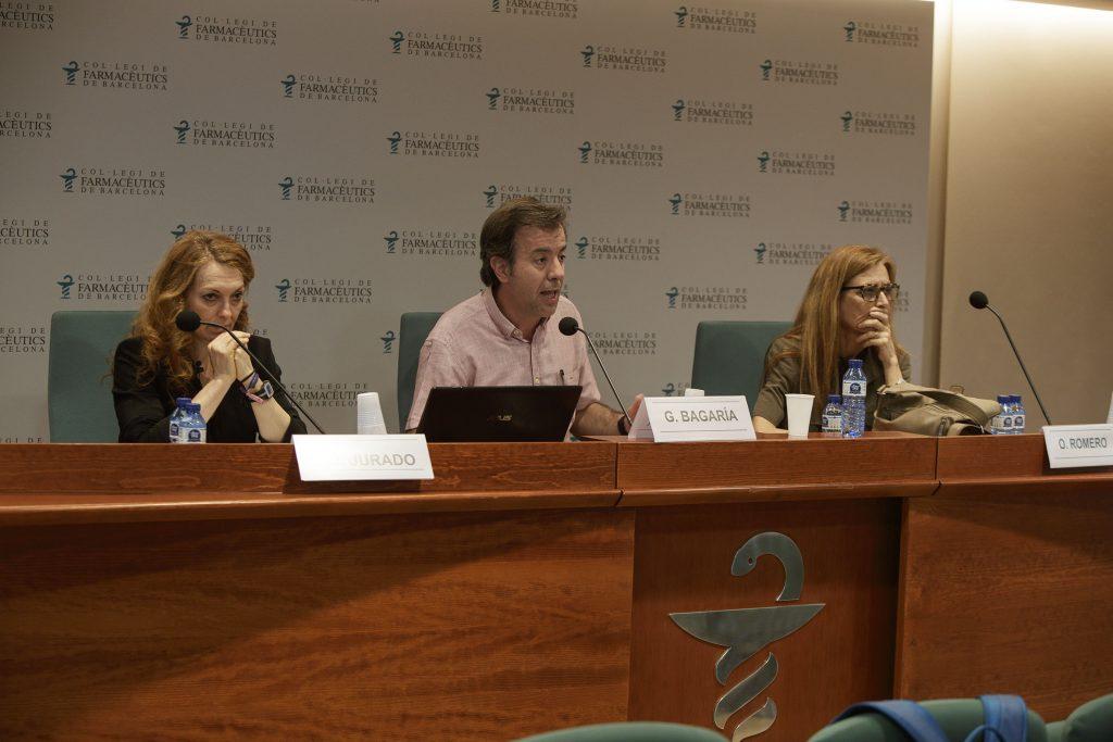 Maria José Jurado, Guillermo Bagaría i Odile Romero, en un moment de la conferència.
