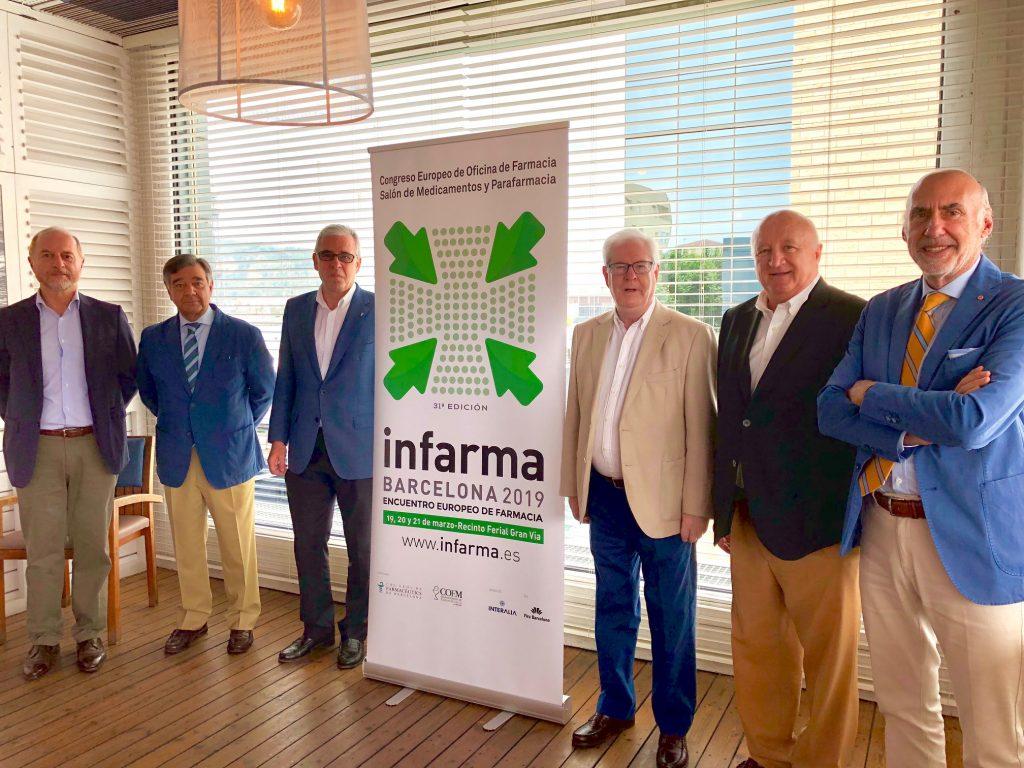D'esquerra a dreta: Josep Gavaldà, gerent del COFB; Luis J. González, president del COFM; Jordi de Dalmases González, president del COFB; Carlos Ibáñez, director general del COFM; Daniel Sarto, director general d'Interalia. i Jorge Arqué, president d'Interalia.