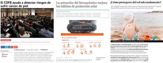 El Global i Diariofarma informant sobre la campanya i l'article divulgatiu del COFB a La Vanguardia