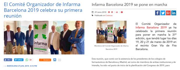 Infarma Barcelona 2019 als mitjans