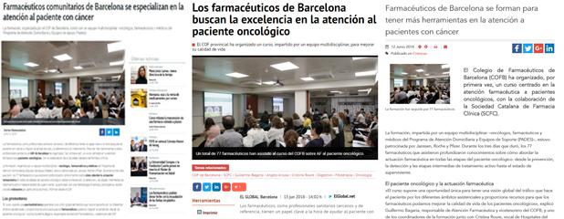 """Correo Farmacéutico, El Global i El Farmacéutico, alguns dels mitjans que van explicar el curs """"Atenció farmacèutica comunitària al pacient amb càncer"""""""