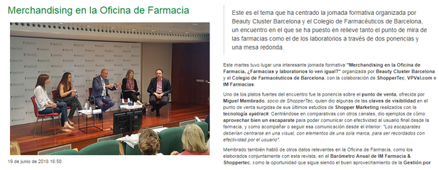 """imFarmacias va desglossar la formació impartida al Col·legi sobre """"merchandising"""" a l'oficina de farmàcia"""