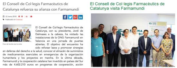 Dues notícies sobre la visita del Consell a Farmamundi