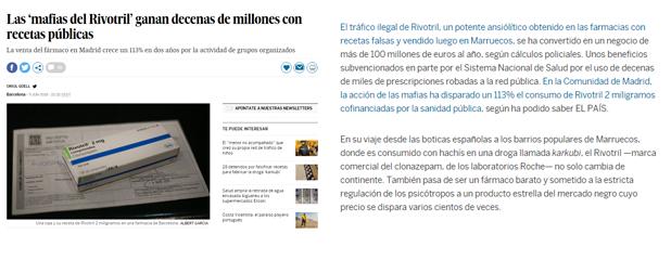 Receptes falses de Rivotril, tema tractat per El País, amb xifres aportades des del Col·legi