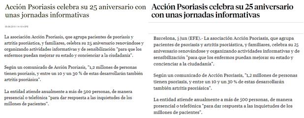 El 25è aniversari d'Acció Psoriasi als mitjans de juny