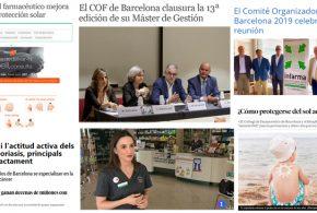 Juny: Campanya Atenció Pell, Infarma Barcelona 2019 i l'oferta formativa del Col·legi, temes destacats als mitjans