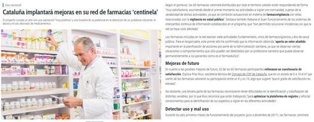 Peça de Correo Farmacéutico sobre la xarxa de Farmàcies sentinella de Catalunya.