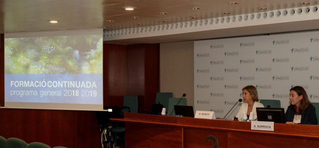 Núria Bosch i Aina Surroca, durant la presentació del programa formatiu 2018-2019.