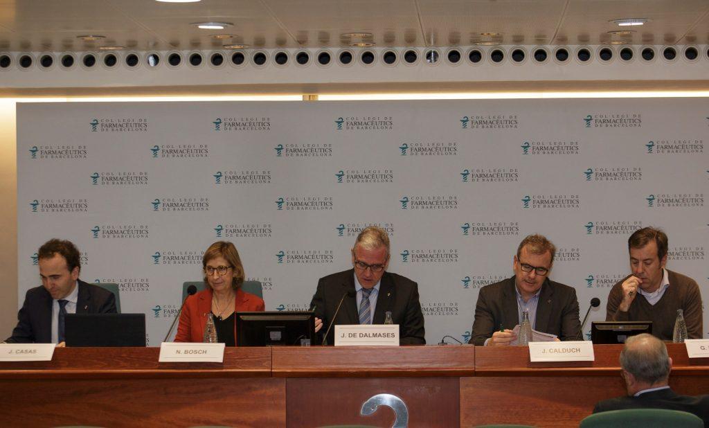La Junta de Govern del COFB (d'esquerra a dreta): Jordi Casas, secretari; Núria Bosch, vicepresidenta; Jordi De Dalmases, president; Joan Calduch, tresorer i Guillermo Bagaria, vicetresorer.