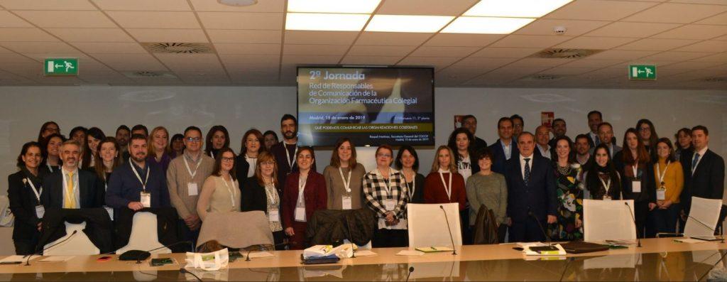 "Imatge de grup dels participants de la ""2ª Jornada de la Red de Responsables de Comunicación de la Organización Farmacéutica Colegial"". Font: CGCOF"