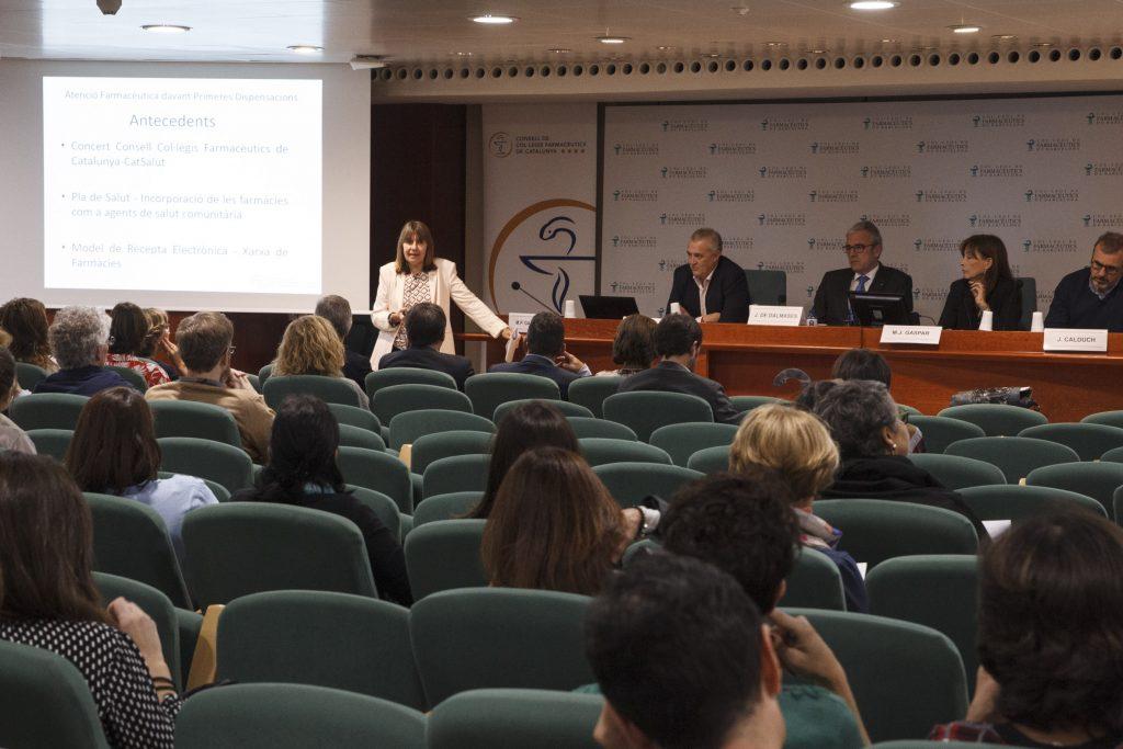 Pilar Gascón, secretària del CCFC, en un moment de la presentació del projecte de primeres dispensacions.