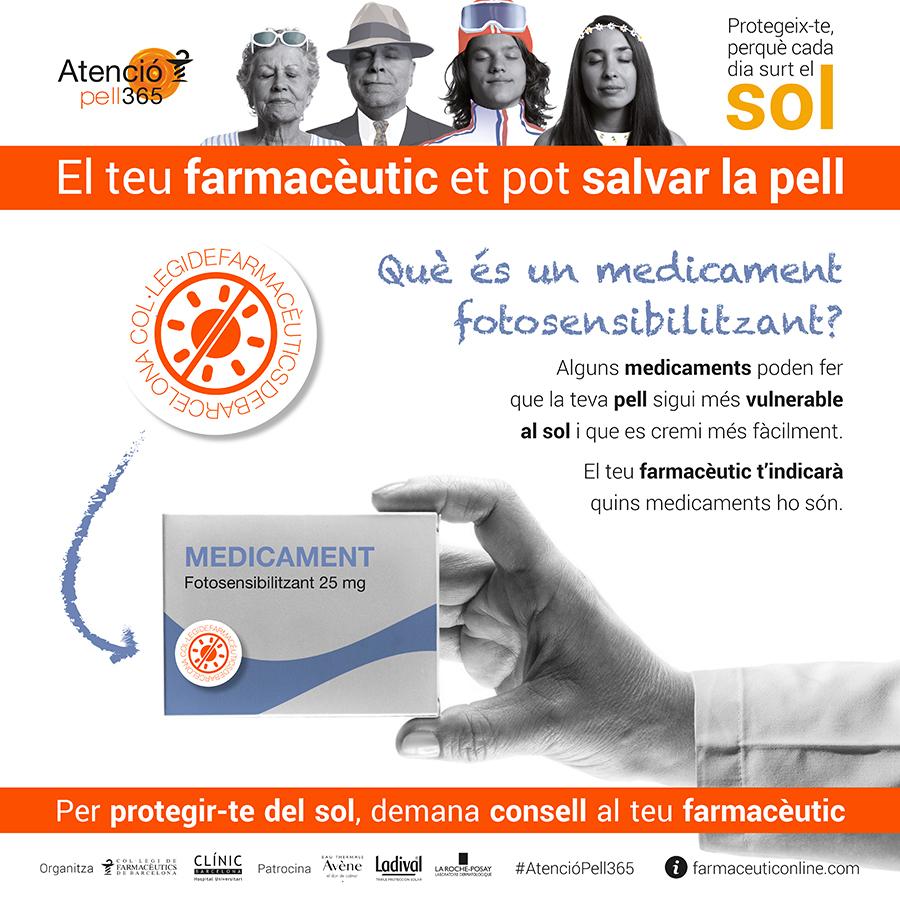 Imatge de la segona onada de la campanya #AtencióPell365 centrada en els medicaments fotosensibilitzants.