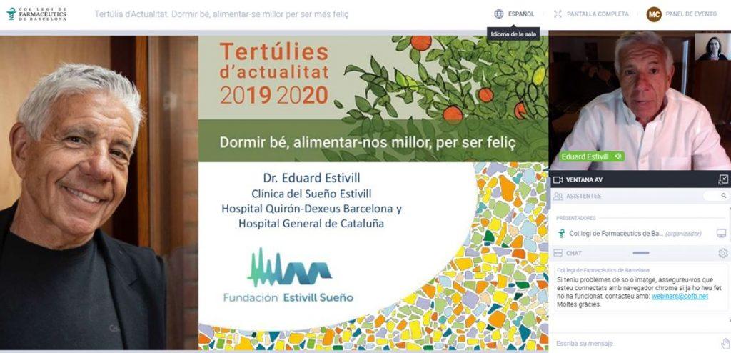 """El doctor Eduard Estivill durant la seva ponència a la tertúlia d'actualitat """"Dormir bé, alimentar-se millor per ser més feliç""""."""