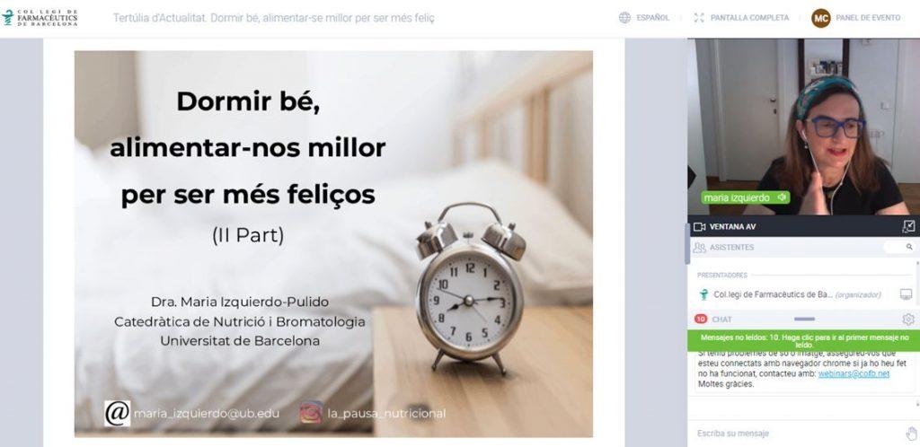 """La catedràtica de Nutrició i Bromatologia, María Izquierdo, en l'inici de la seva exposició a la tertúlia d'actualitat """"Dormir bé, alimentar-se millor per ser més feliç""""."""