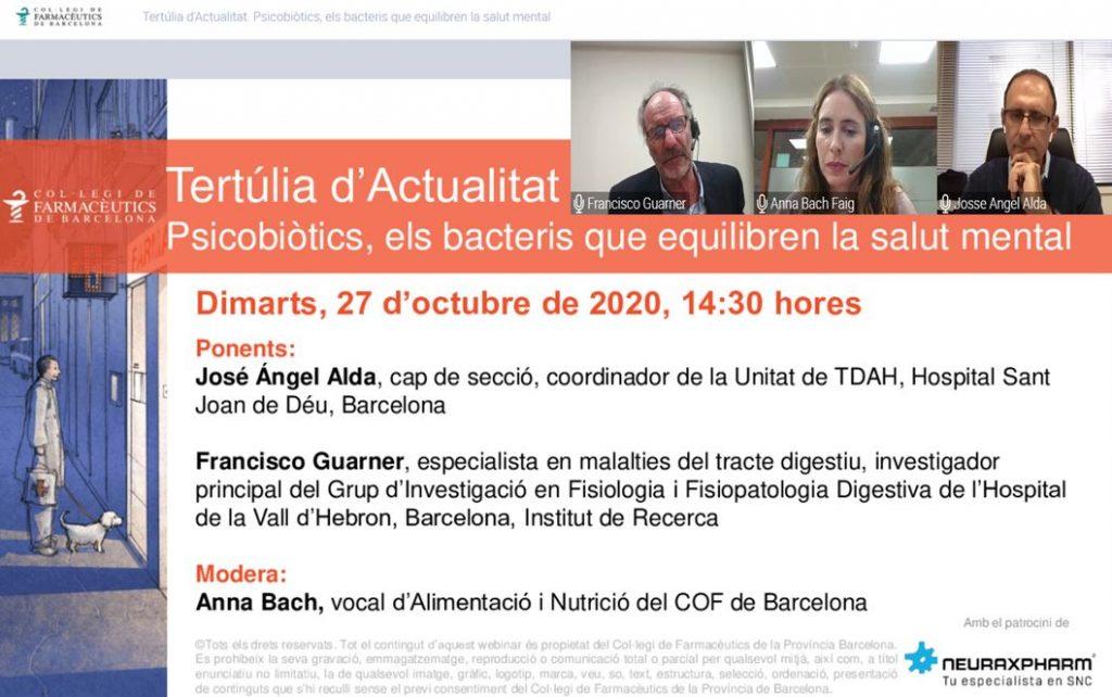 D'esquerra a dreta: el Dr. Francisco Guarner, la vocal d'Alimentació i Nutrició del COFB i el Dr. José Ángel Alda en l'inici de la tertúlia d'actualitat celebrada el passat 27 d'octubre.