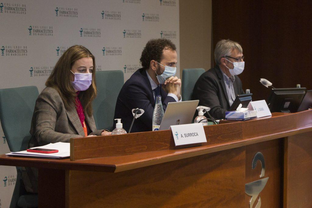 D'esquerra a dreta: Aina Surroca, secretària del COFB; Jordi Casas, president del COFB, i Miquel Recasens; tresorer.