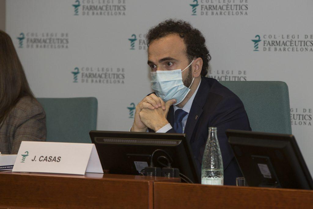 Jordi Casas, president del Col·legi de Farmacèutics de Barcelona, en un moment de la seva intervenció.