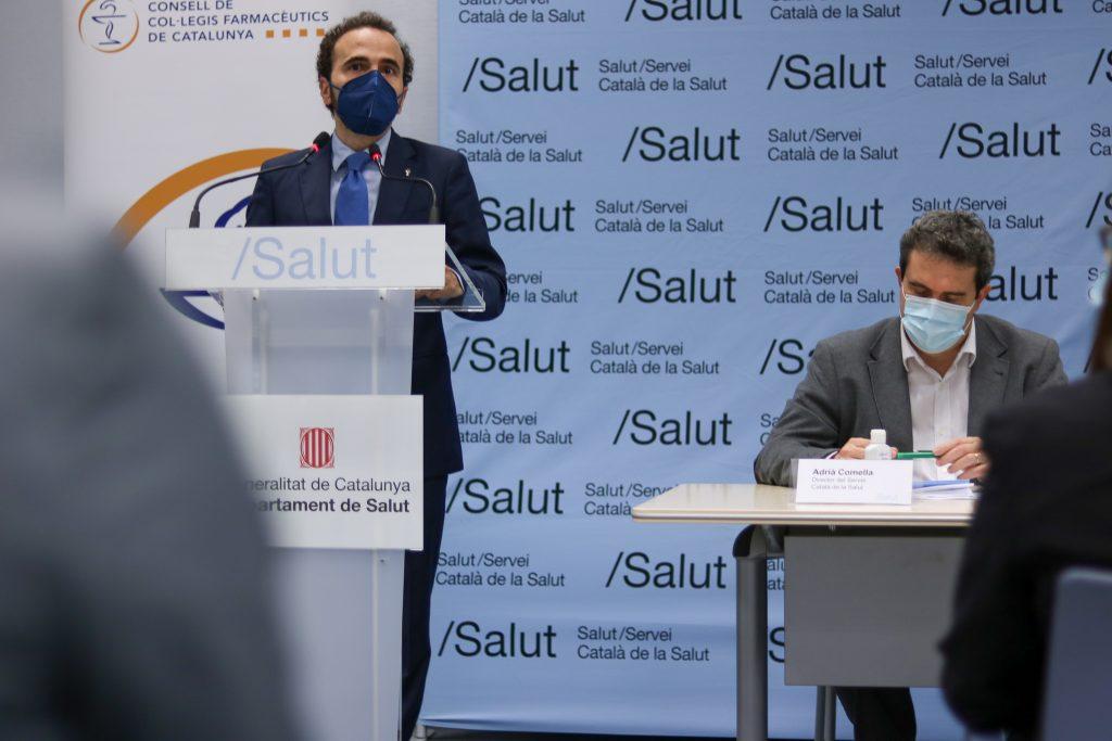 Jordi Casas, president del COFB i del CCFC, en un moment de la seva intervenció durant la signatura del conveni.