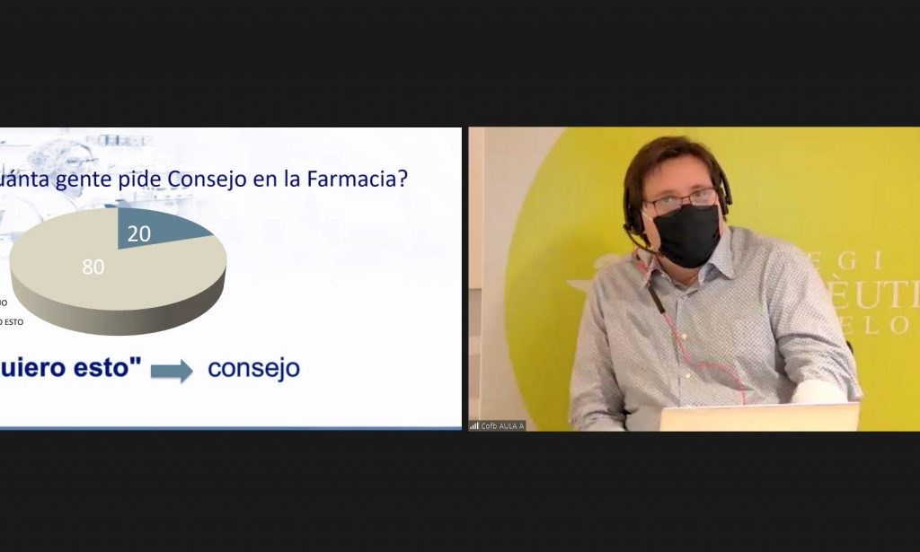 El farmacèutic Jordi Boncompte, en un moment del seu webinar.
